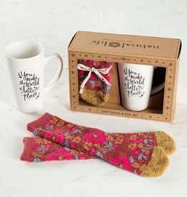 Natural Life Mug & Cozy Socks World Gift Set
