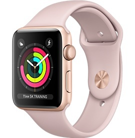 Apple Apple Watch Series 3 - GPS - 42mm - Gold Aluminum Case with Pink Sand Sports Band