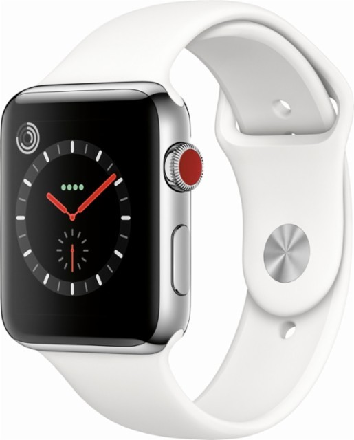 Apple Apple Watch Series 3 - GPS + Cellular - 42mm - Stainless Steel Case with Soft White Sport Band