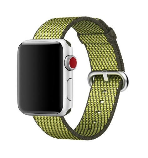 Apple Dark Olive Check Woven Nylon - 38mm