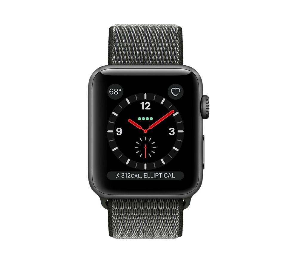 Apple Apple Watch Series 3 - GPS + Cellular - 38mm -  Space Gray Aluminum Case with Dark Olive Sport Loop