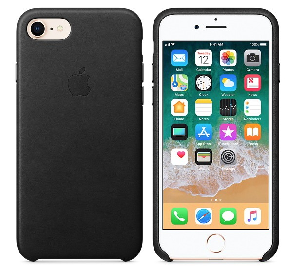 Apple iPhone 8/7 Leather Case - Black