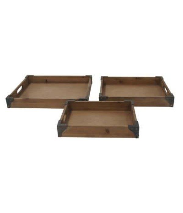 Crestview Set of 3 Rustic Trays