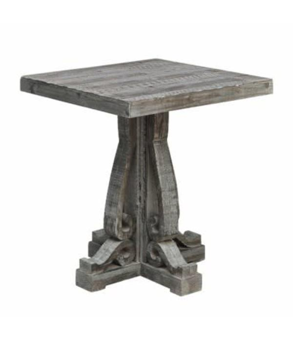Crestview Overton Distressed Grey Carved Leg End Table