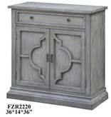 Crestview Chadwick Antiqued Grey 2 Door Quatrefoil / 1 Drawer Cabinet