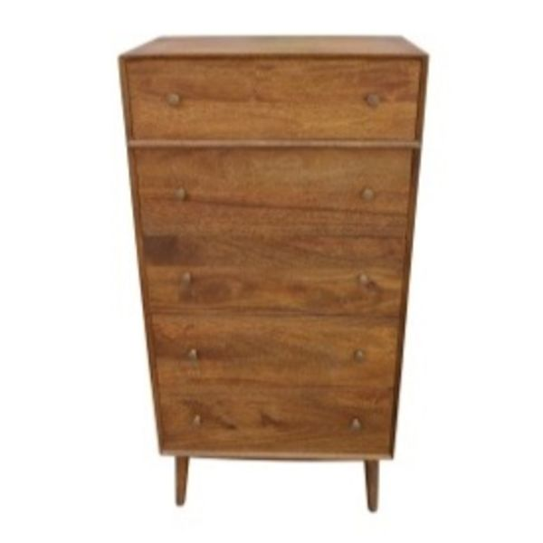 Mid Century 5 Drawer High Boy Mango Strip Pine