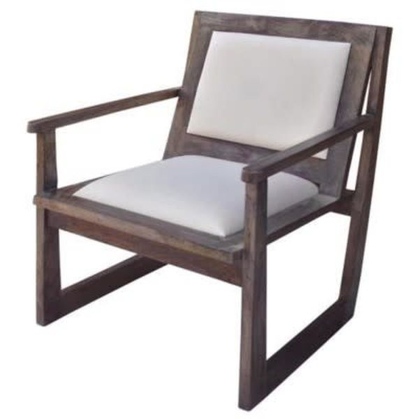 Bengal Manor Charcoal Grey Mango Wood Accent Chair w/ White Leather CVFNR383