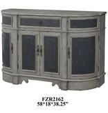 Crestview Barrington 1 Drawer / 4 Raised Panel Door Credenza in 2 Tone Textured Grey Finish