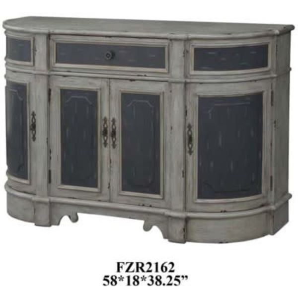 Barrington 1 Drawer / 4 Raised Panel Door Credenza in 2 Tone Textured Grey Finish