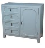 Crestview Eloise Pale Grey 4 Drawer, 1 Door Split Cabinet CVFZR3523