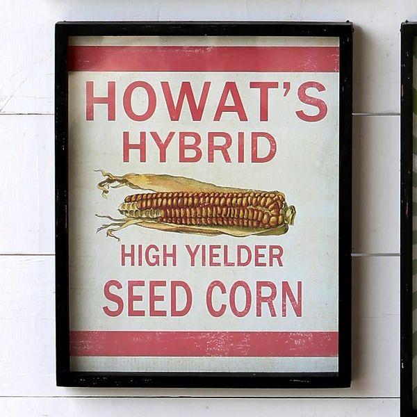 Framed Feedsack Howast's Hybrid Corn IM6520