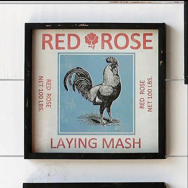 Framed Feedsack Red Rose Mash IM6524