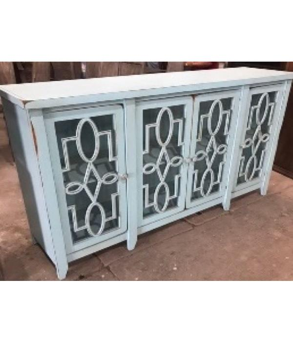 Farmhouse Console 4 Doors with Mirror Sky (A) LN-CON-580AM-NW