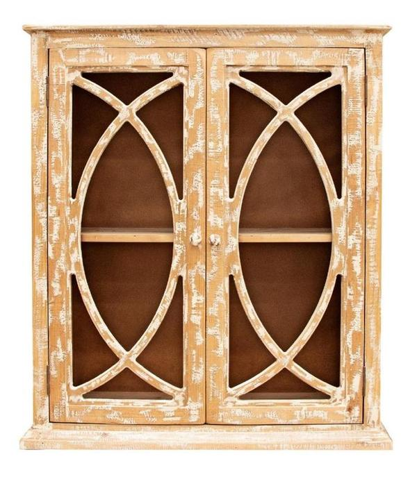 Farmhouse by Head Springs Depot Farmhouse Console 2 Doors with Mirrors Nero White with Ashe Doors (A) LN-CON-593BM-NASH