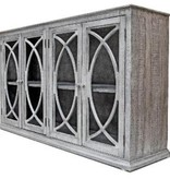 Farmhouse Console 4 Doors with Glass Nero Gray with Lite Doors (A) LN-CON-581BG-NGY