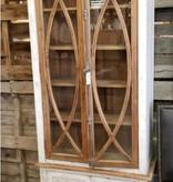 Farmhouse by Head Springs Depot Farmhouse Tall Vitrine with Glass Nero White with Traditional Medium Doors (A) LN-VIT-585-BG-NWTM