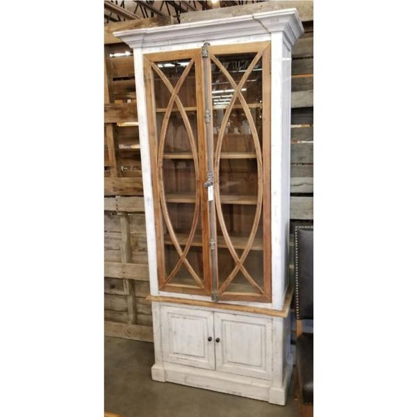 Farmhouse Tall Vitrine with Glass Nero White with Traditional Medium Doors (A) LN-VIT-585-BG-NWTM