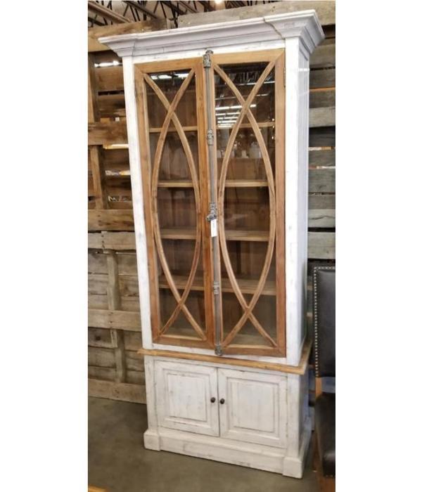 Farmhouse Tall Vitrine with Mirror Doors Barnwood (A) LN-VIT-585-BM-BWD