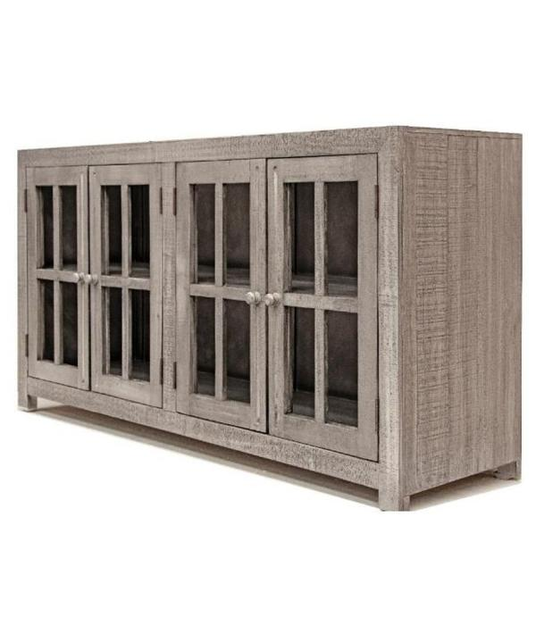 Farmhouse Console 4 Doors with Glass and Decorative Hinges (A)