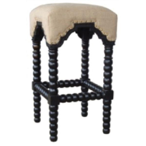 Bobbin Leg Bar Stool Black Paris Linen Fabric
