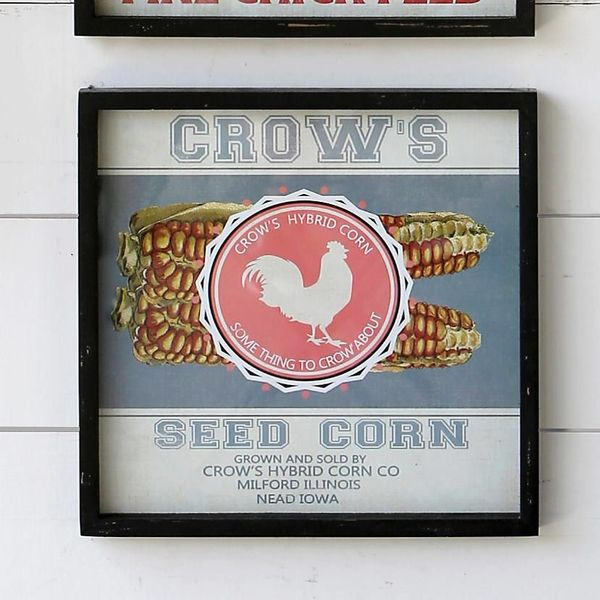 Framed Feedsack Crows Seed Corn IM6519