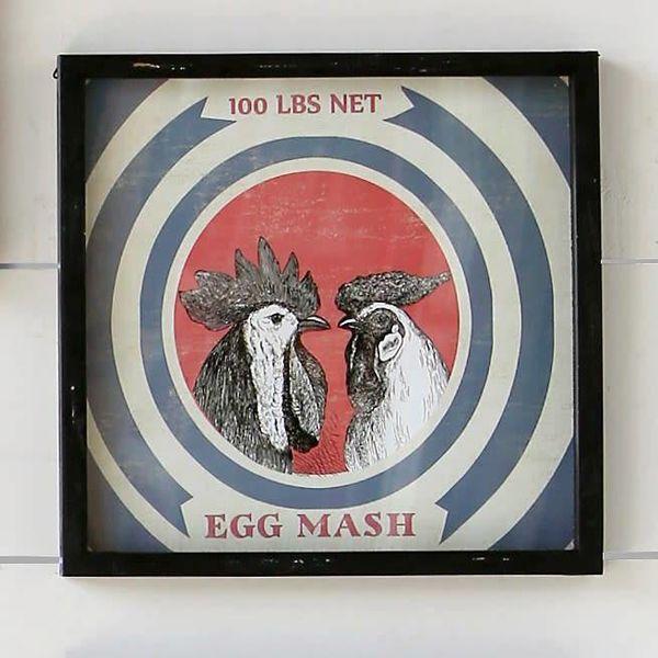 Framed Feedsack Egg Mash IM6525