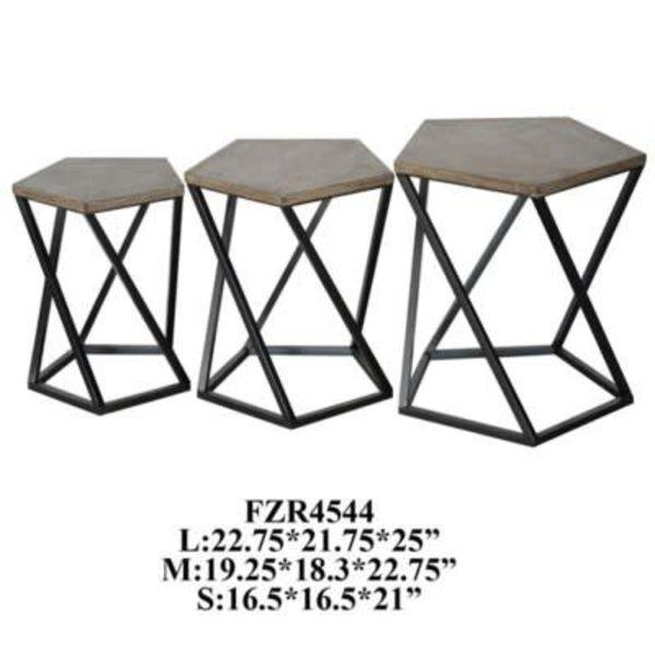 Grant Metal / Wood Pentagon 3 Table Set CVFZR4544