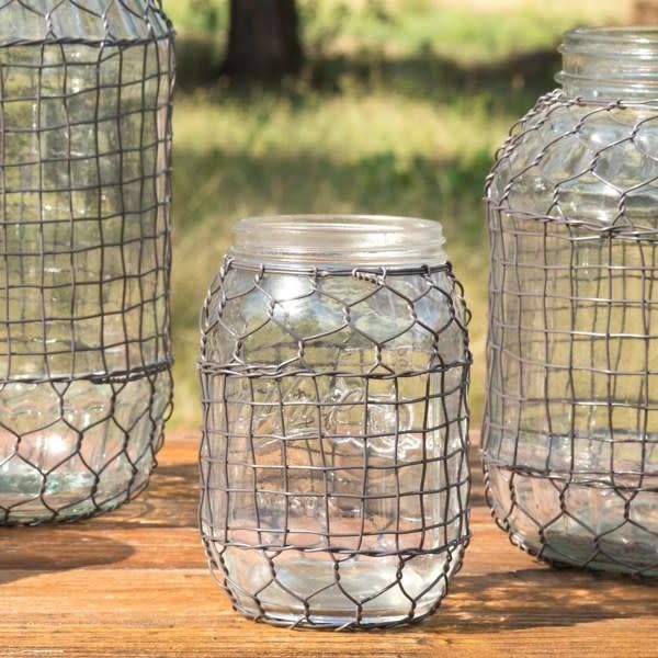 Primitive Wire Covered Jelly Jar DS3594