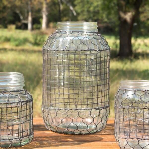 Primitive Wire Covered Extra Large Dill Pickle Jar