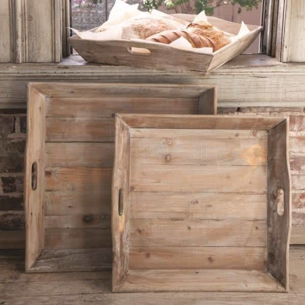 Reclaimed Wood Square Tray Small YF7823