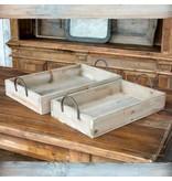 Park Hill Hoop Handle Wooden Trays Set of 2 YF2427
