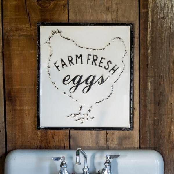 Farm Fresh Eggs Embossed Metal Sign FH3160