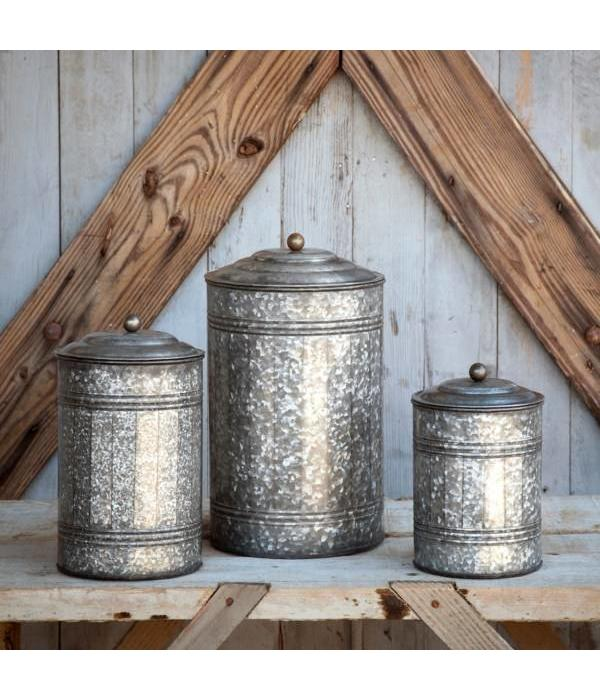 Park Hill Tall Galvanized Canister