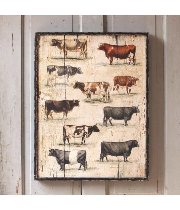 Park Hill Framed Vintage Cow Breeds