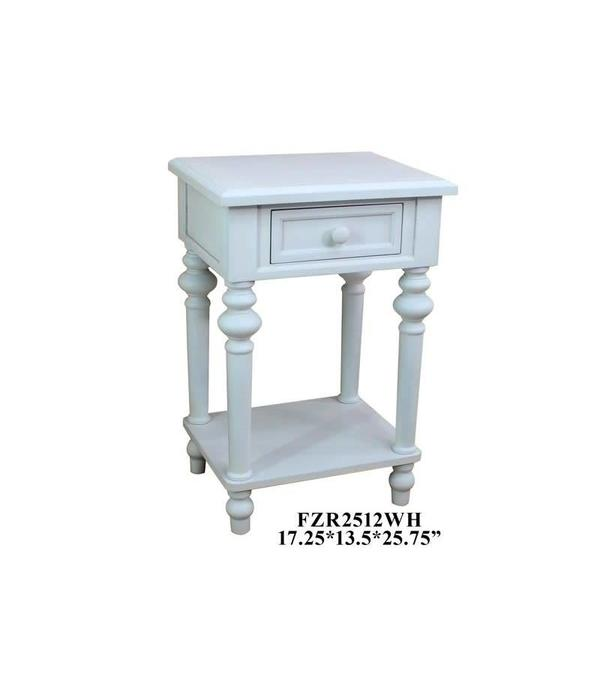 Crestview 1 Drawer Side Table White FZR2512WH
