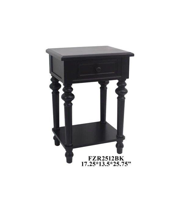 Crestview 1 Drawer Side Table Black FZR2512BK