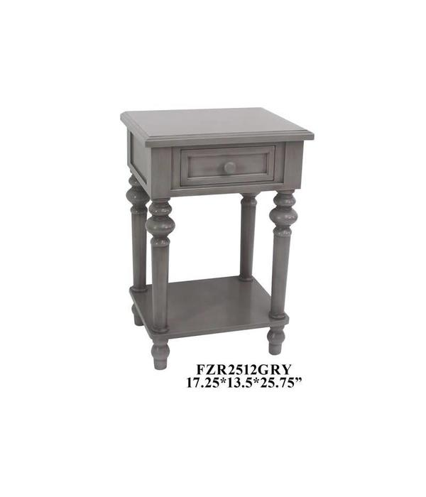 Crestview 1 Drawer Side Table Gray FZR2512GRY