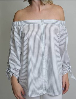 Off Shoulder Button Down Top 12334