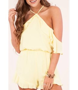 8480920e57e3 Peach Love Cream Cold Shoulder Romper 4004503