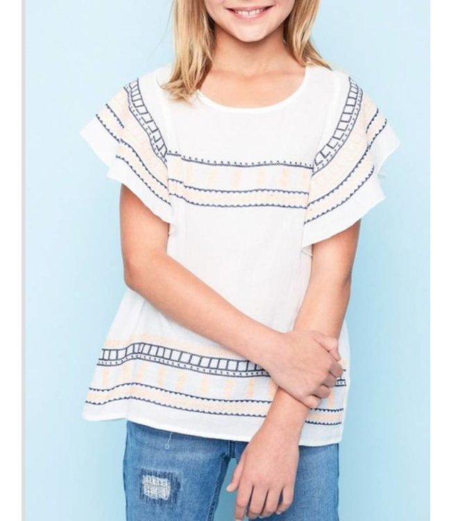 Ruffled Sleeve Embroidered Top 5235