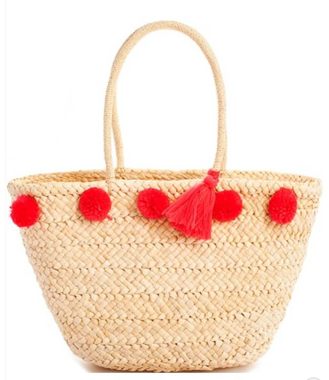 Whicker Pom-Pom Tote 6506