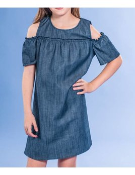 Girls Denim Cold Shoulder Dress 4270