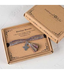 Natural Life Blessings Bracelet 169 - Silver Cross
