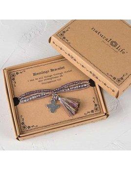 Natural Life Blessings Bracelet 169 - Silver Cross