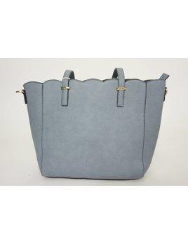 Scallop Handbag 1315 - Gray Blue