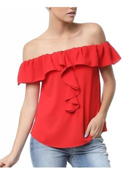 Off the Shoulder Ruffle Detail Top 109775