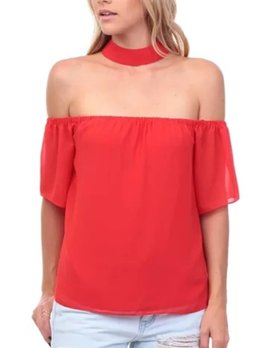Off the Shoulder Choker Top 109275