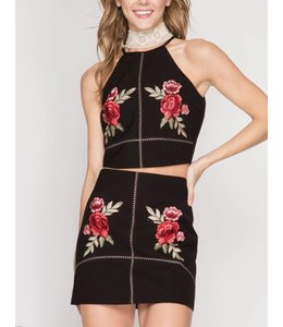 eee019c9105b Halter Top With Floral Embroidery 5109