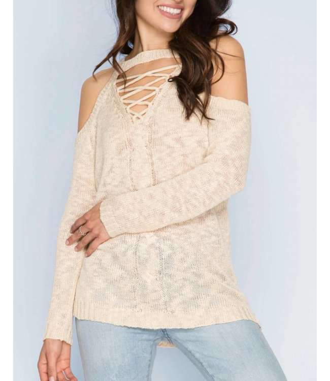 She&Sky Cold Shoulder Sweater 5047