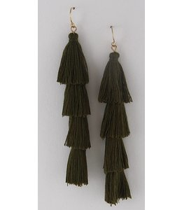 Anzell Tiered Tassel Earring 4061 - Olive